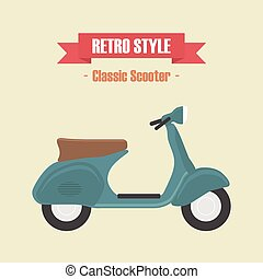 114.classic scooter.eps - retro blue scooter, vintage style