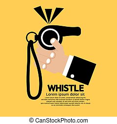 Whistle In Hand. - Whistle Vector Illustration.
