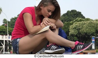 Female Student Relaxing