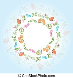 round frame with floral elements