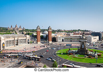 Square of Spain, Barcelona - Square of Spain at summer day,...