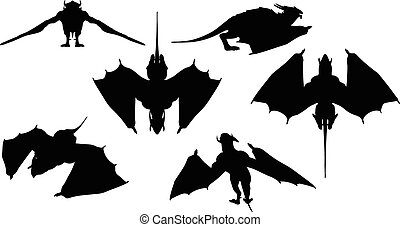 dragon silhouette with fully fold wings - Vector Image -...
