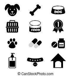 Dog Icons Set. - Dog Icons Set Black Symbol Vector...