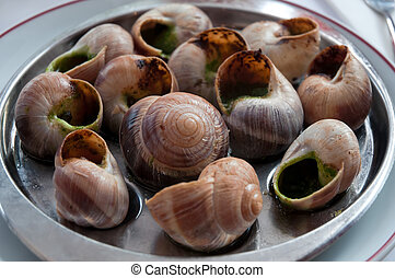 Escargot dish on the plate, traditional french delicatessen,...