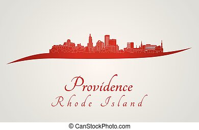 Providence skyline in red and gray background in editable...