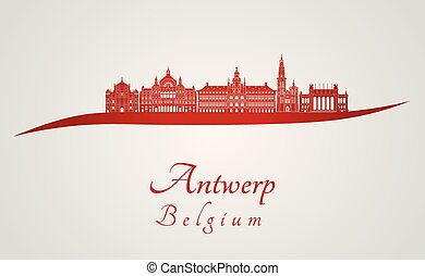 Antwerp skyline in red.eps
