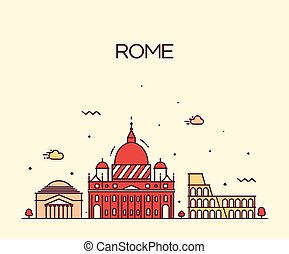 Rome City skyline detailed vector line art style - Rome City...