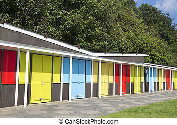 Beach chalets on the royal parade at Filey North Yorkshire...