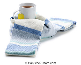 Tea - Hot cup of tea wrapped in scarf isolated