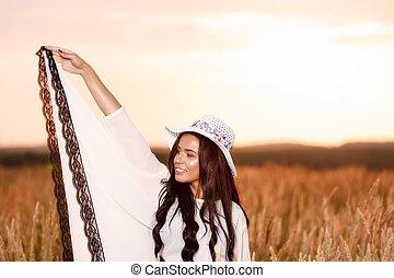 EXTÉRIEUR, beauté,  nature, liberté, gratuite, femme,  girl, apprécier, heureux