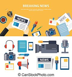 breaking news and media banner elements concept flat design