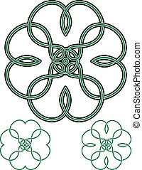 Four Leaf Clover drawn in traditional Celtic style with...