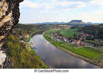 Saxon Switzerland - Panoramic view to Saxon Switzerland from...