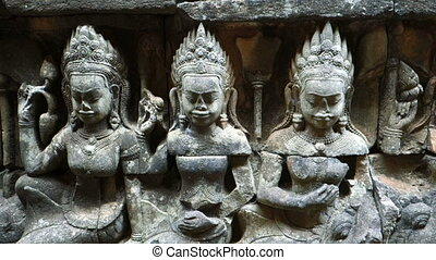 Carvings At Leper King Terrace, Angkor Thom, Siem Reap,...