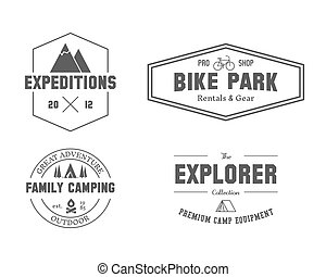 Set of outdoor explorer, family camp badge, logo and label...