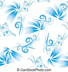 Abstract vector floral seamless background, pattern with...