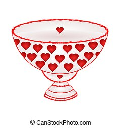 Bowl of fruit with red hearts  vector
