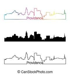 Providence skyline linear style with rainbow in editable...