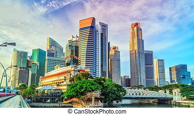 Singapore timelapse - Skyline of Singapores Central Business...