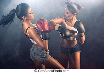 Two attractive girls sparring - Two attractive athletic...