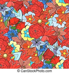 flowers pattern - Beautiful summer ornate from many flowers,...
