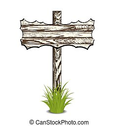 Wooden sign on grass. Vector illustration. Isolated on white