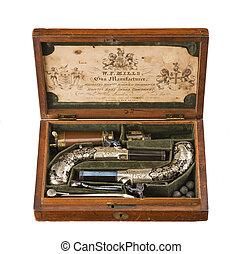 Cased pair flintlock pistols old vintage and original - Pair...