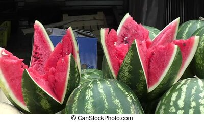 Watermelon and melon sold at the Bazaar - Fresh watermelons...