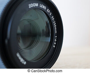 Detail of very good black photography lens
