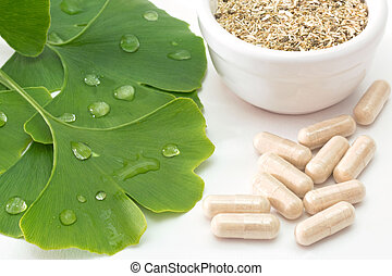 Capsules of ginkgo - Fresh ginkgo leaves with dried herb and...