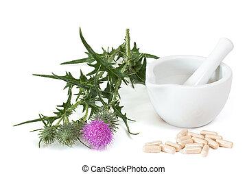 Capsules of milk thistle - Milk thistle and capsules near...