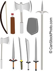 Premodern Combat Weapons Vector Illustration - Vector...