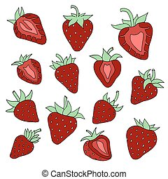 Strawberry set. Hand drawn with paints. Isolated elements....