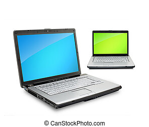 Open laptops showing keyboard and screen isolated on white...