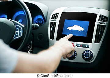male hand pointing finger to car icon on panel - transport,...