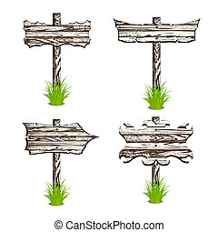 Wooden sign - Set of Wooden sign and arrow on grass...