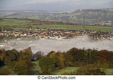 Halifax west yorkshire England beautiful landscape with fog