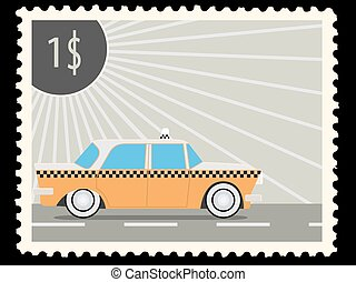 postage stamp - Postage stamp with retro taxi cars Vector...