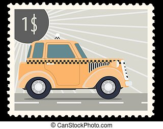postage stamp - Postage stamp with retro taxi cars. Vector...