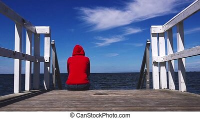 Alone Woman in Red Shirt at Pier - Alone Young Woman in Red...