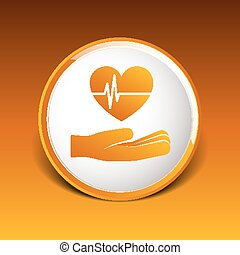heart ecg in hand Icon abstract logo type