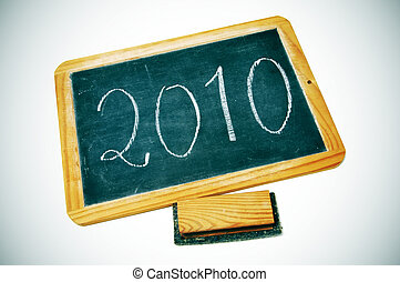 2010 - new year 2010 drawn on a blackboard