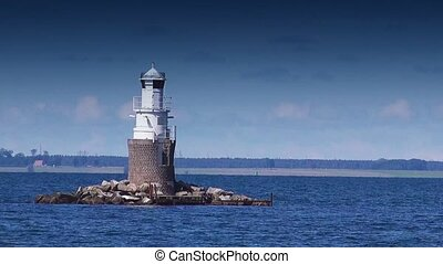 Lighthouse at Open Sea, Sunny Summer Day