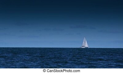 Boat Sailing at Open Blue Sea - Boat Sailing on Open Blue...