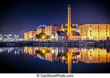 Liverpool Night - Night view of Liverpool UK