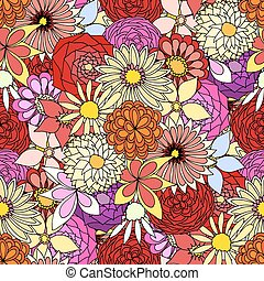 Beautiful summer ornate from many flowers, seamless pattern....