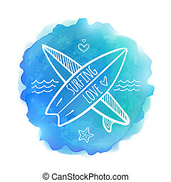 Surfing boards white logo on blue watercolor background -...