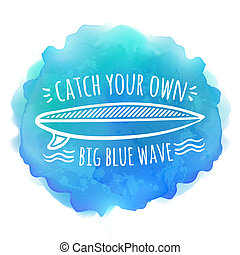 Surfing board white logo on blue watercolor background -...