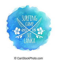 Surfing camp Sri Lanka logo at watercolor splash background...