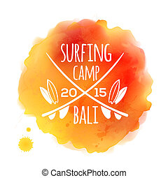 Surfing camp Bali white logo at orange vector watercolor...